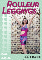 Rouleur Leggings - pattern cover featuring stylised text and image of woman in brightly coloured bib shorts and sunglasses with arms raised