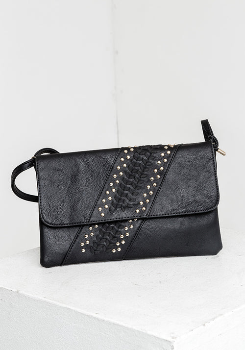 Leather fancy clutch bag with gold details
