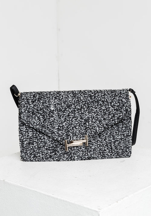 Grey clutch bag with front detail