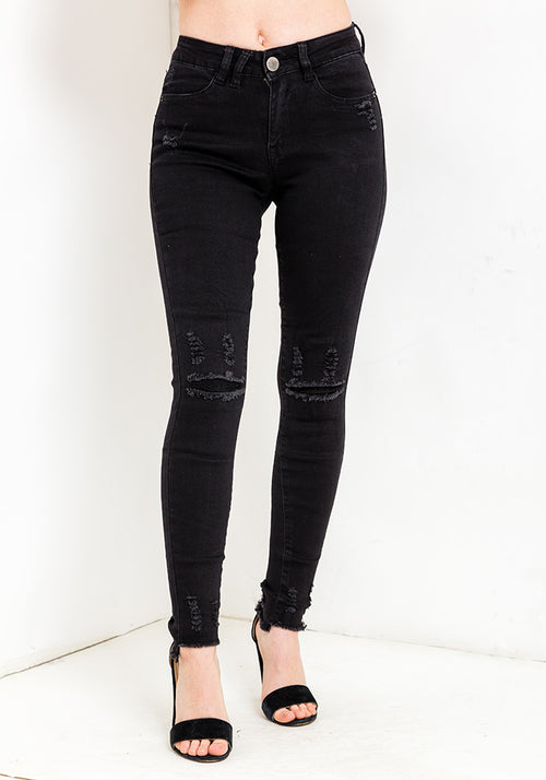 Black knee distressed jeans