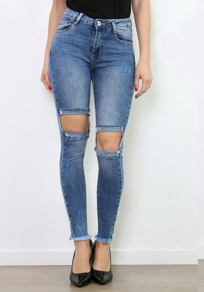 Blue studded knee stretch jeans