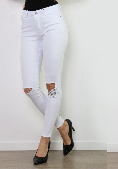 White knee rip metal detail stretch jeans