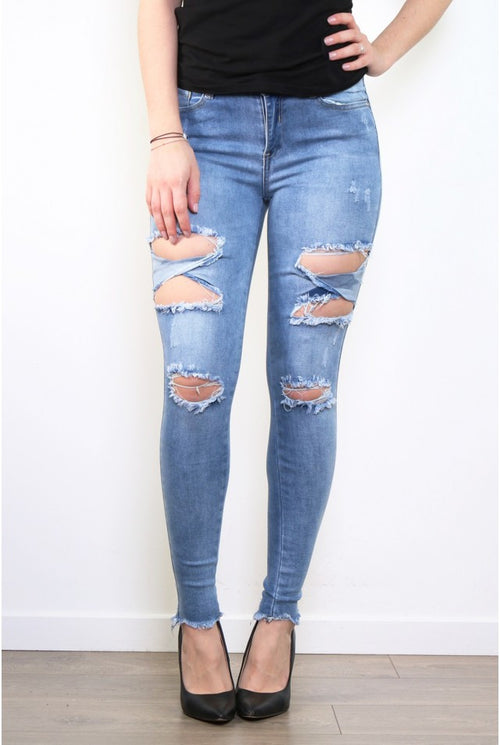 Skinny ripped push-up jeans