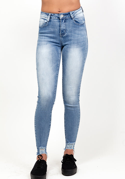 Blue high waist bottom rip detail jeans