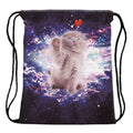 Kitty Floating In Space Drawstring Backpack