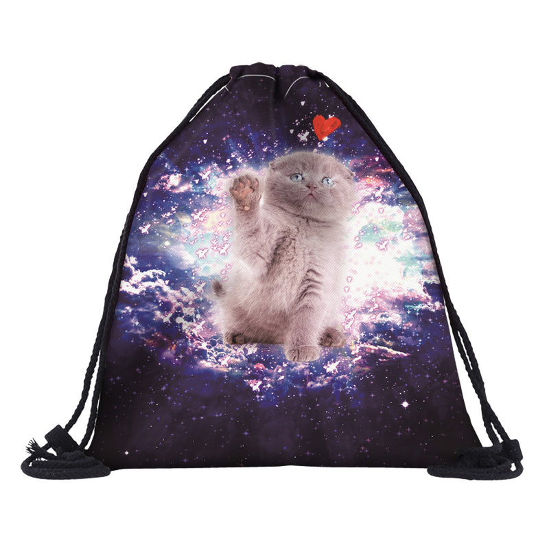 Love Cat Space Drawstring Backpack