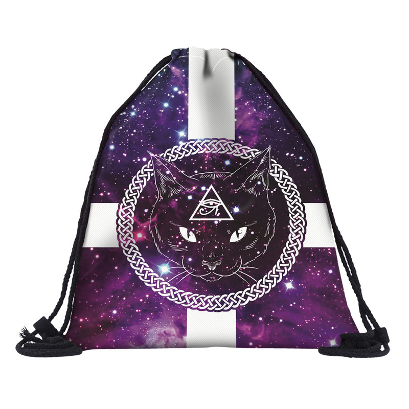 Pentagram Cat Drawstring Backpack
