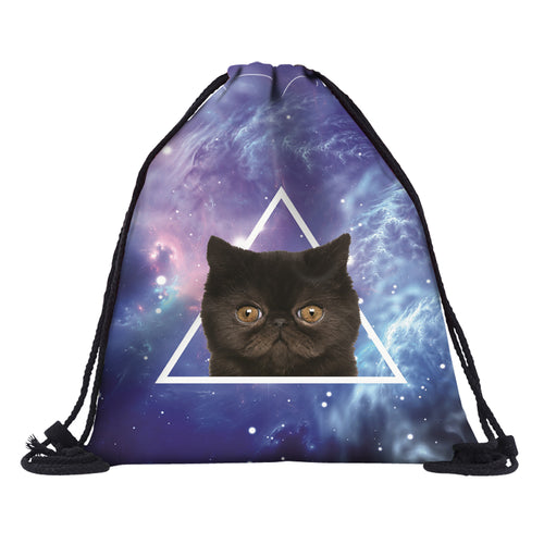 Triangle Kitty Drawstring Backpack