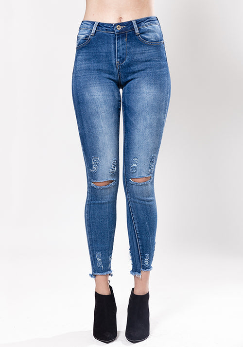 Ripped knee skinny stretch jeans