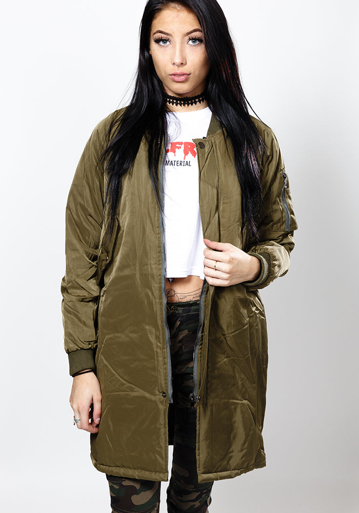 Army green longline bomber jacket