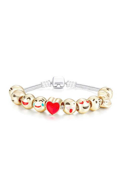 10 Charm 18ct yellow gold-plated emoji bracelet