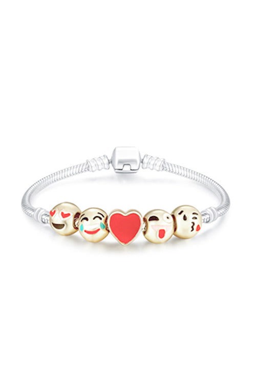 5 Charm 18ct yellow gold-plated emoji bracelet