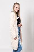 Beige furry zipper jacket