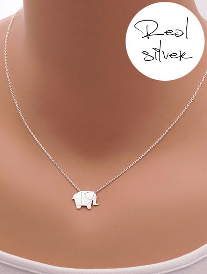 Origami Elephant - Silver plated necklace