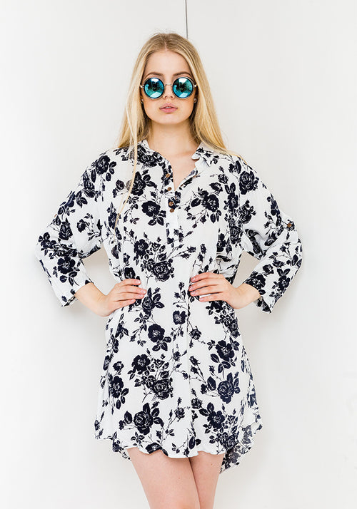 Flower navy shirt dress