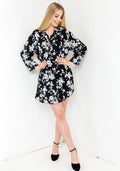 Flower black shirt dress