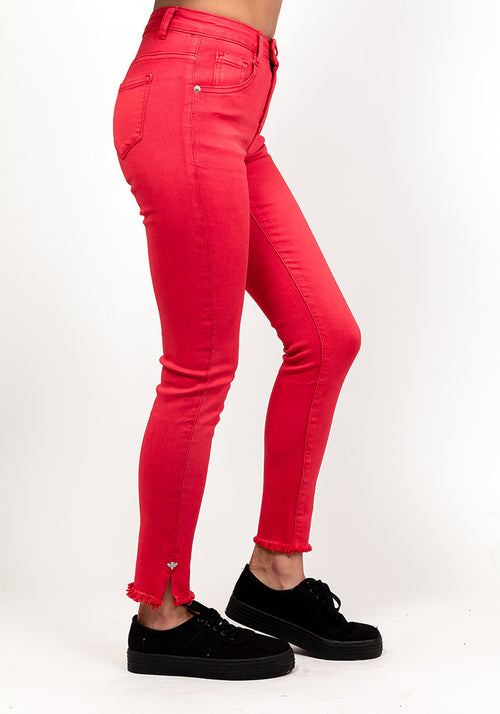 Red slay skinny jeans