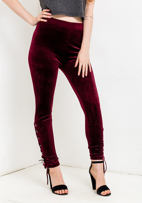 Lace bottom velvet leggings in ruby