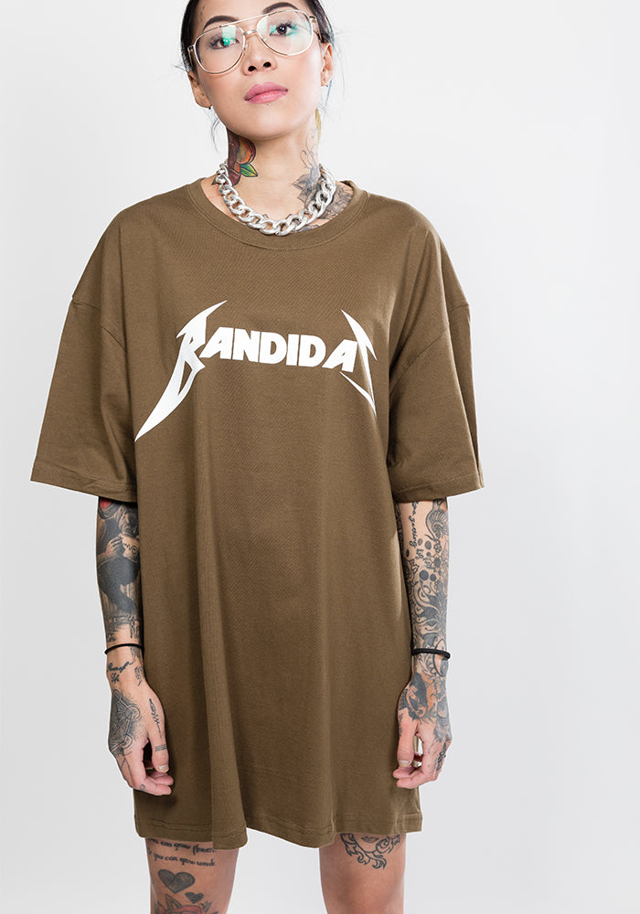 Master of puppets bandidas oversize tee in khaki