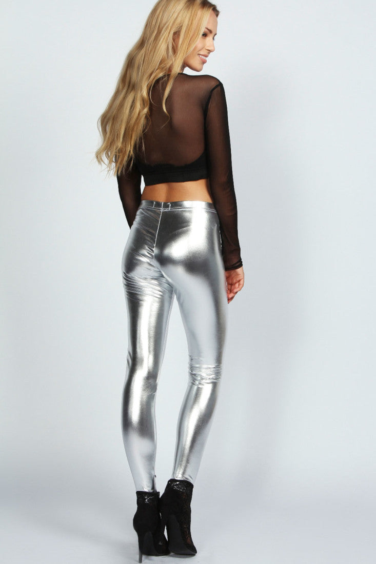 silver faux leather high shine party leggings