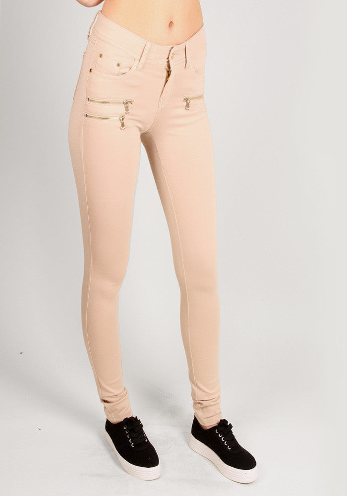 Perfect fit skinny jeans in beige