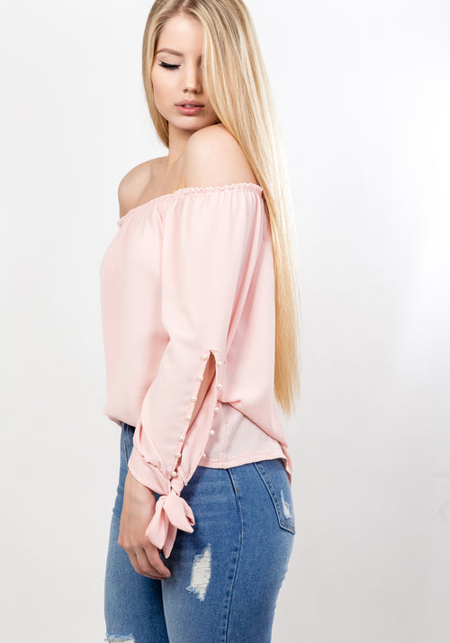 Off shoulder pearl sleeve blouse in baby pink