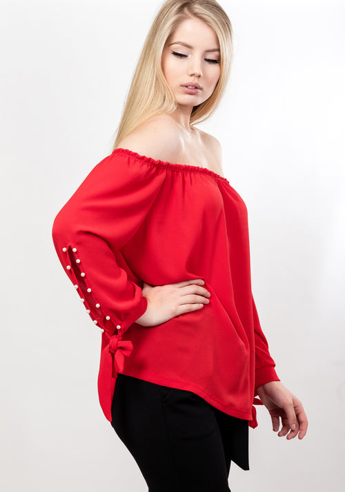 Off shoulder pearl sleeve blouse in red