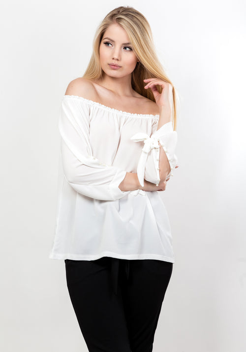Off shoulder pearl sleeve blouse in white