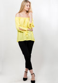 Off shoulder pearl sleeve blouse in yellow