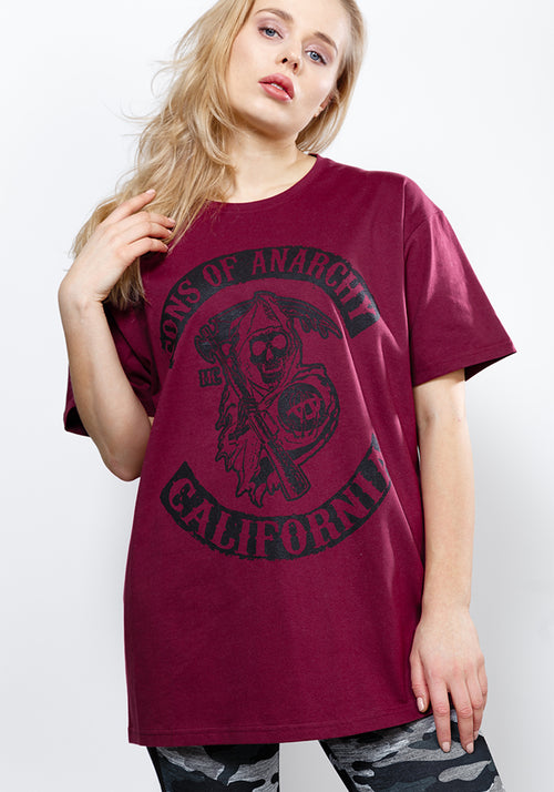 Sons of anarchy oversize tee in wine