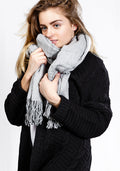 Light Grey lightweight scarf with tassels