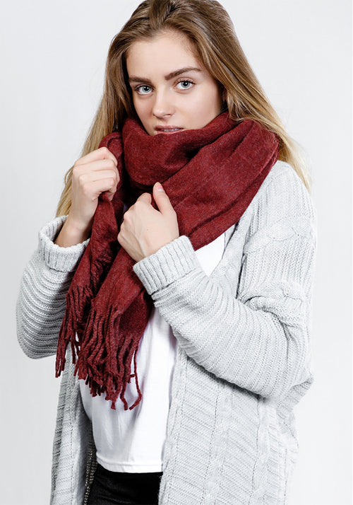 Wine lightweight scarf with tassels