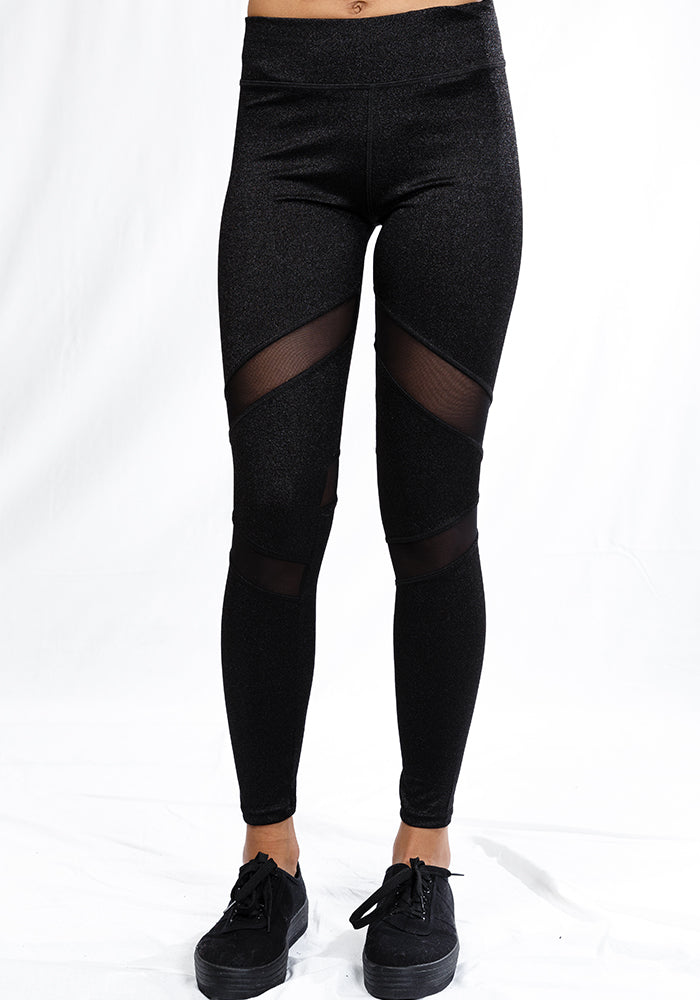 Over the knee mesh-insert leggings