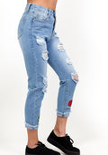 Rose embroidered rip blue jeans