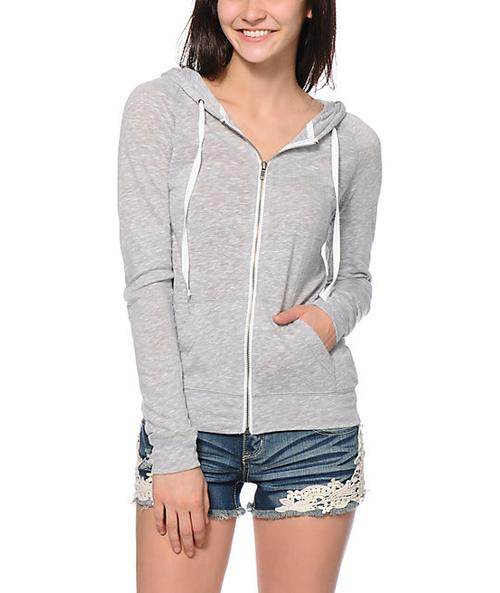 Plain Light Grey Zipper Hoodie