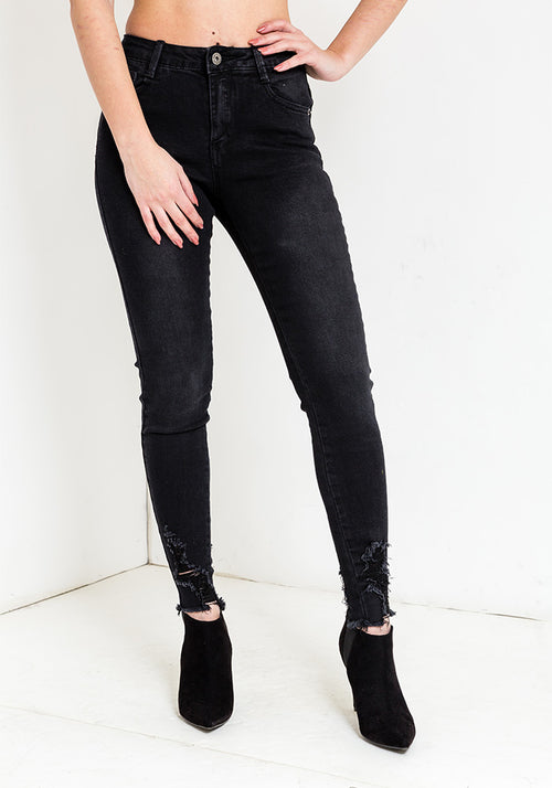 Black bottom ripped jeans
