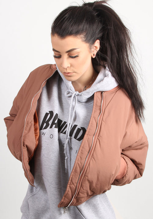 Puffy Bomber Jacket In Dusty Pink