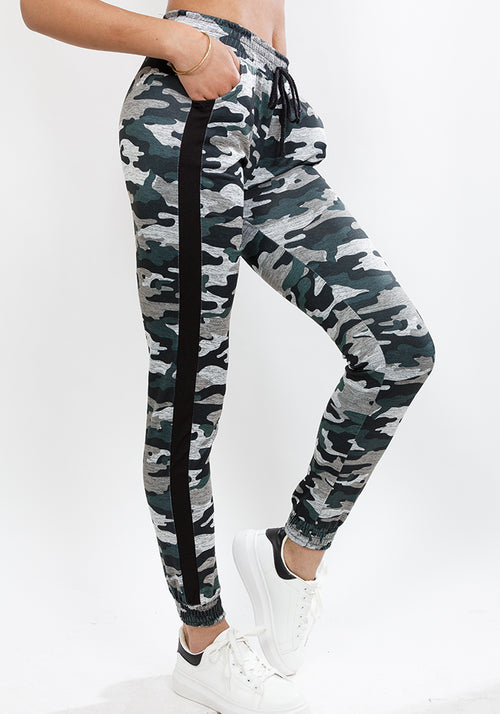 Camo Print Sweatpants with side detail in Multiple colors