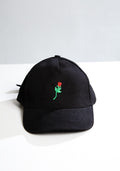 Rose embroidered cap in black