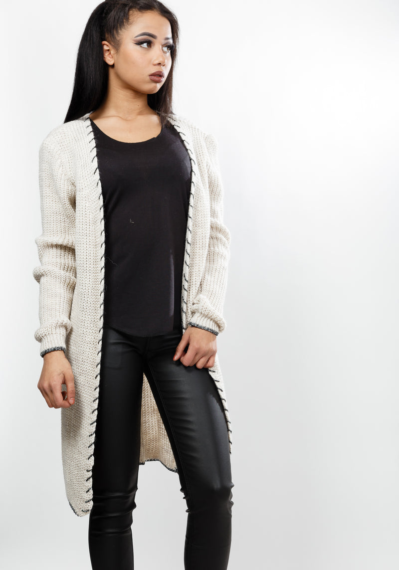 Comfy cardigan with trim detail in beige