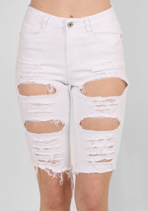 White Ripped Biker Jeans Shorts