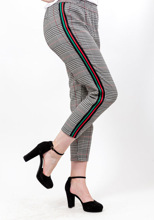 Babe side stripe plaid pants