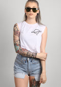 Planet crop moto tank in white