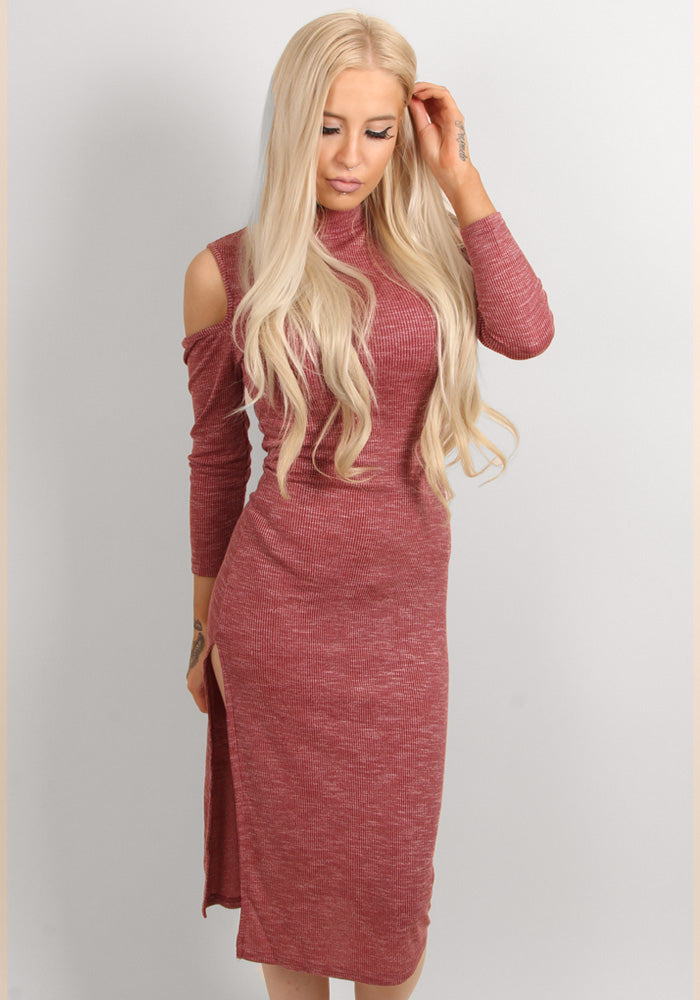 Off shoulder hole bodycon dress in Multiple colours