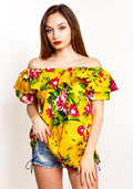 Off shoulder frill floral top in yellow