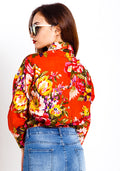 Long sleeve floral button up shirt in orange