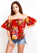 Off shoulder floral top lace detail in red