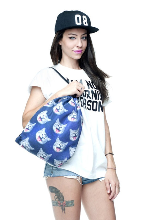 Space Cat Head Drawstring Backpack