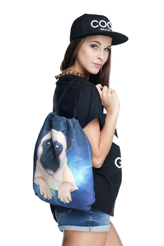 Pug Blue Drawstring Backpack