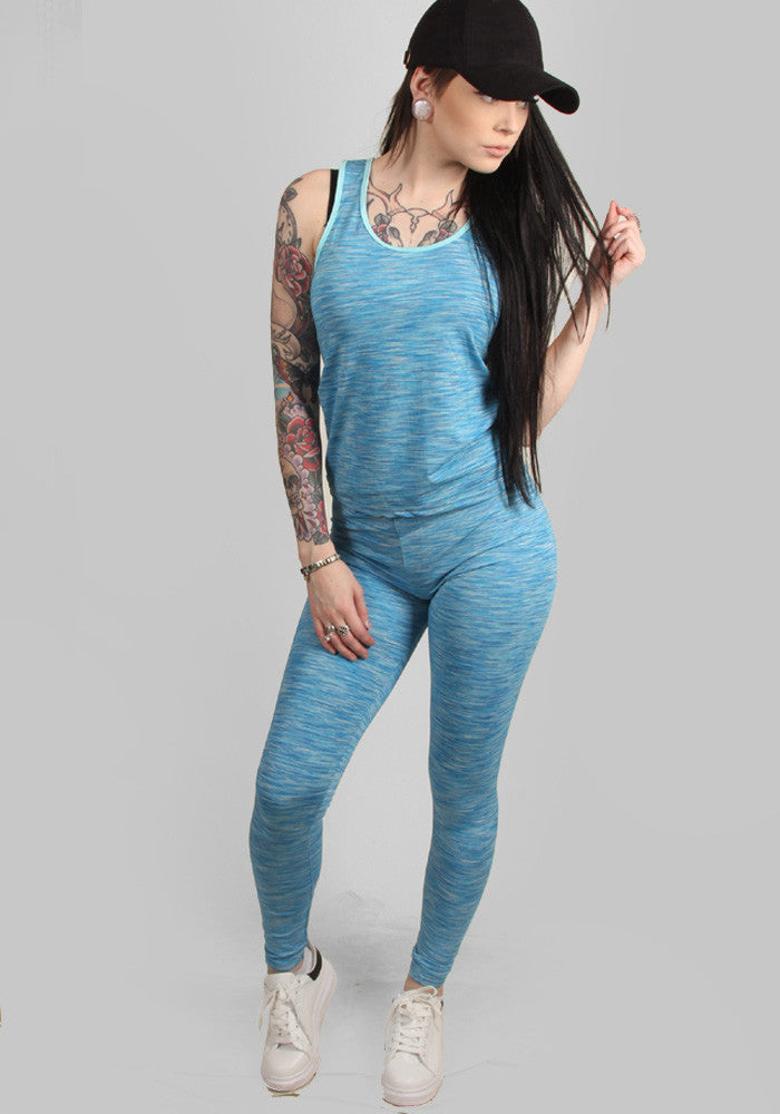 Blue lagoon flow active set (top + leggings)